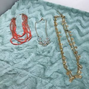 Lot of 3 Gold tone Necklaces